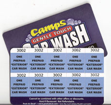 10 Exterior Car Wash Pre-Paid Card